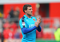 Bobby Grant of Fleetwood Town applauds the fans after the Sky Bet League 1 match between Rotherham United and Fleetwood Town at the New York Stadium, Rotherham, England on 7 April 2018. Photo by Leila Coker.