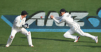 30th November 2019, Hamilton, New Zealand;  Ross Taylor drops a chance at first slip to dismiss Burns on day 2 of 2nd test match between New Zealand and England,  International Cricket at Seddon Park, Hamilton, New Zealand.  - Editorial Use