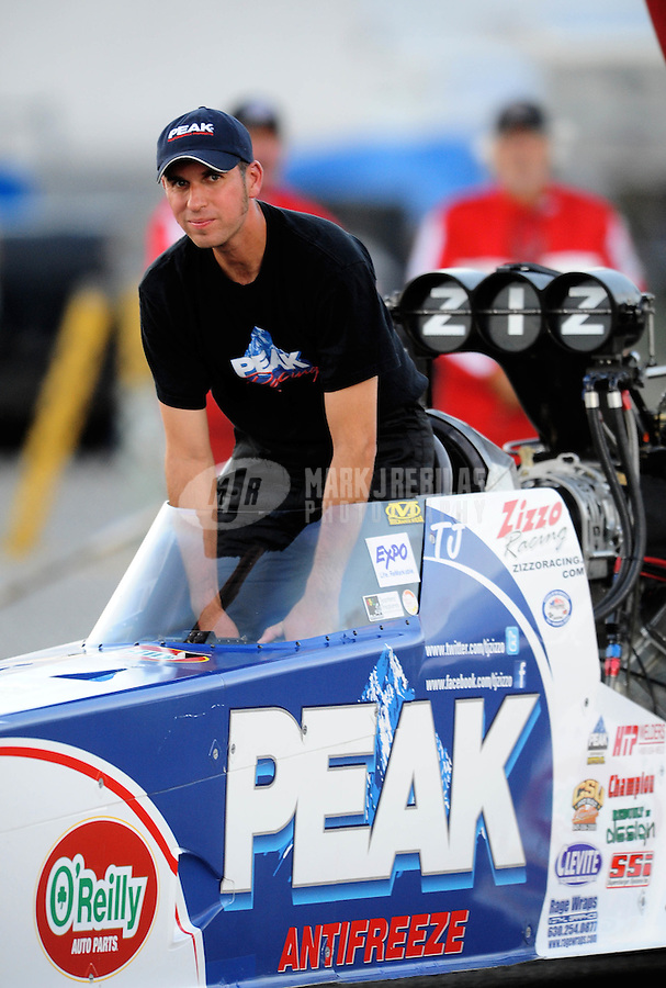 Sept. 3, 2010; Clermont, IN, USA; NHRA top fuel dragster driver T.J. Zizzo during qualifying for the U.S. Nationals at O'Reilly Raceway Park at Indianapolis. Mandatory Credit: Mark J. Rebilas-