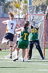 Santa Barbara, CA 02/13/10 - Grace Jackson (Texas #7) scores against Evon Goldsmith (Oregon #00) as Cristen Skope (Oregon #1) defends during the Texas-Oregon game.