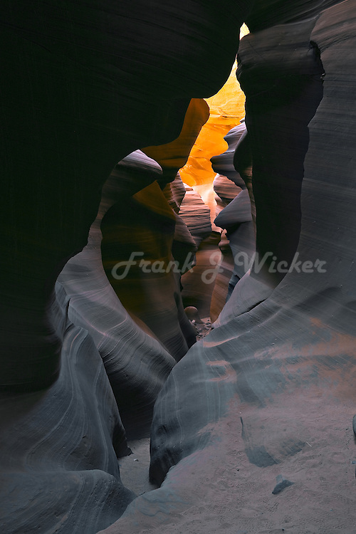 Narrow twisting hiking trail in the Antelope slot canyon in the  southwest desert of the Colorado Plateau near Lake Powell Arizona