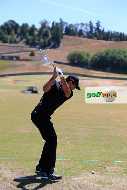 Jason DAY (AUS) on the range during Wednesday's Practice Day of the 2015 U.S. Open 115th National Championship held at Chambers Bay, Seattle, Washington, USA. 6/17/2015.<br /> Picture &copy; Golffile/Eoin Clarke