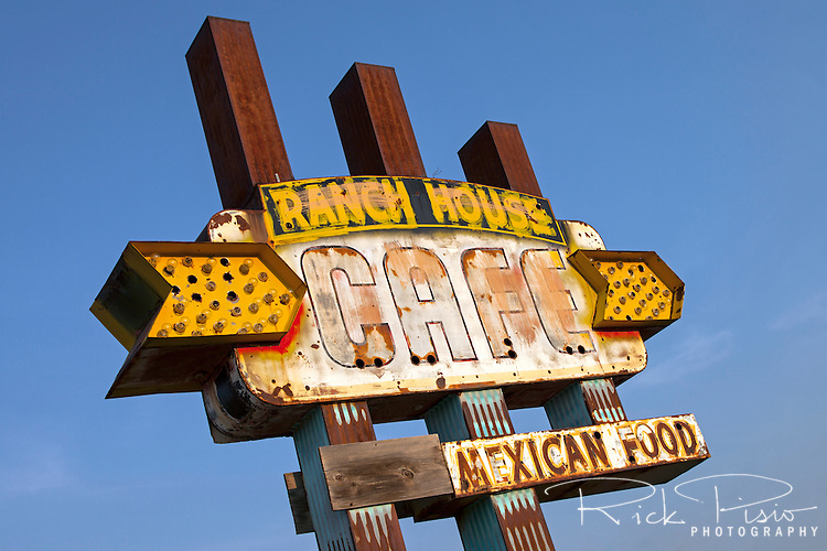 Weather worn sign for the Ranch House Cafe along Route 66 in Tucumcari, New Mexico.