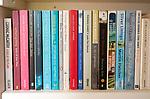 Row of fiction books on bookshelf, UK