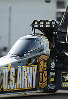 Aug. 31, 2012; Claremont, IN, USA: Detailed view of the canopy on the car of NHRA top fuel dragster driver Tony Schumacher during qualifying for the US Nationals at Lucas Oil Raceway. Mandatory Credit: Mark J. Rebilas-
