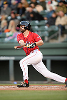 Designated hitter Devlin Granberg (17) of the Greenville Drive bats in a game against the Rome Braves on Saturday, April 20, 2019, at Fluor Field at the West End in Greenville, South Carolina. Rome won, 5-4. (Tom Priddy/Four Seam Images)