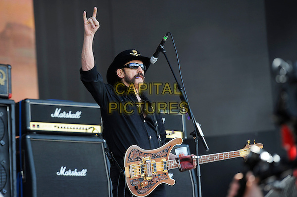 LONDON, ENGLAND - JULY 4: Lemmy (Ian Kilmister) of 'Motorhead' performs live at British Summertime, Hyde Park on July 4, 2014 in London, England.<br /> CAP/MAR<br /> &copy; Martin Harris/Capital Pictures