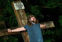 Jesus (J.P. Dean) cries out Tuesday, May 19, 2020, during a rehearsal for the 2020 season at The Great Passion Play in Eureka Springs. The play will open their season Friday with adjustments for cast and audience members to stay within Arkansas Department of Health social distancing guidelines. Go to nwaonline.com/photos to see more photos.<br /> (NWA Democrat-Gazette/Ben Goff)