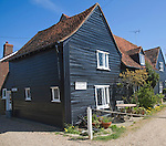 Historic black wooden homes, West Mersea, Mersea Island, Essex, England
