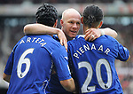Everton's Andy Johnson celebrates his goal with Mikel Arteta and Steven Pienaar. during the Premier League match at the Stadium of Light, Sunderland. Picture date 9th March 2008. Picture credit should read: Richard Lee/Sportimage