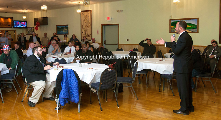 WATERBURY, CT - 08 NOVEMBER 2016 - 110816JW08.jpg -- 73rd District candidate Alderman Steven Giacomi gives his concession speach to his supporters at the Ancient Order Of Hibernians after losing Tuesday night.    Jonathan Wilcox Republican-American