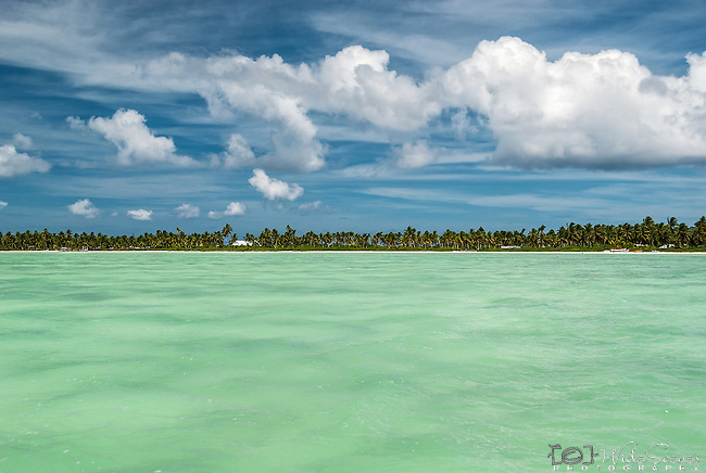 The lagoon and shoreline on Kiritimati, Kiribati.