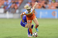 Houston, TX - Saturday June 17, 2017: Camila Levin Pereira and Camille Levin battle for control of the ball during a regular season National Women's Soccer League (NWSL) match between the Houston Dash and the Orlando Pride at BBVA Compass Stadium.