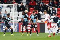Marcus Bean of Wycombe Wanderers blocks a free kick with his head during the Sky Bet League 2 match between Stevenage and Wycombe Wanderers at the Lamex Stadium, Stevenage, England on 17 October 2015. Photo by PRiME Media Images.