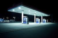 Landscape view of a gas station at night following the 311 Tohoku Tsunami in Ishinomaki, Japan  © LAN