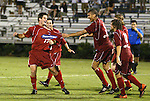 30 June 2004: Steve Rhyne (17) is corralled by Amir Lowery (5) and his other teammates after his goal in the second minute of stoppage time at the end of regulation tied the game 2-2, sending it into overtime. The Atlanta Silverbacks of the A-League defeated the Carolina Dynamo of the Premier Development League 3-2 in sudden death overtime at McPherson Stadium in Brown's Summit, NC during a third round Lamar Hunt U.S. Open Cup match..