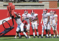 NWA Democrat-Gazette/ANDY SHUPE<br /> Arkansas linebacker Alexy Jean-Baptiste takes part in a drill Saturday, April 1, 2017, during practice at the university practice field in Fayetteville. Visit nwadg.com/photos to see more photographs from practice.