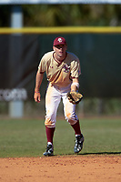 Boston College Eagles shortstop Johnny Adams (8) during a game against the Ohio State Buckeyes on March 6, 2016 at North Charlotte Regional Park in Port Charlotte, Florida.  Boston College defeated Ohio State 6-2.  (Mike Janes/Four Seam Images)
