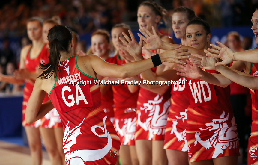 29.07.2014 Wales' in action during the South v Wales netball match at the Commonwealth Games Glasgow Scotland on the 29th of July 2014. Mandatory Photo Credit ©Michael Bradley.
