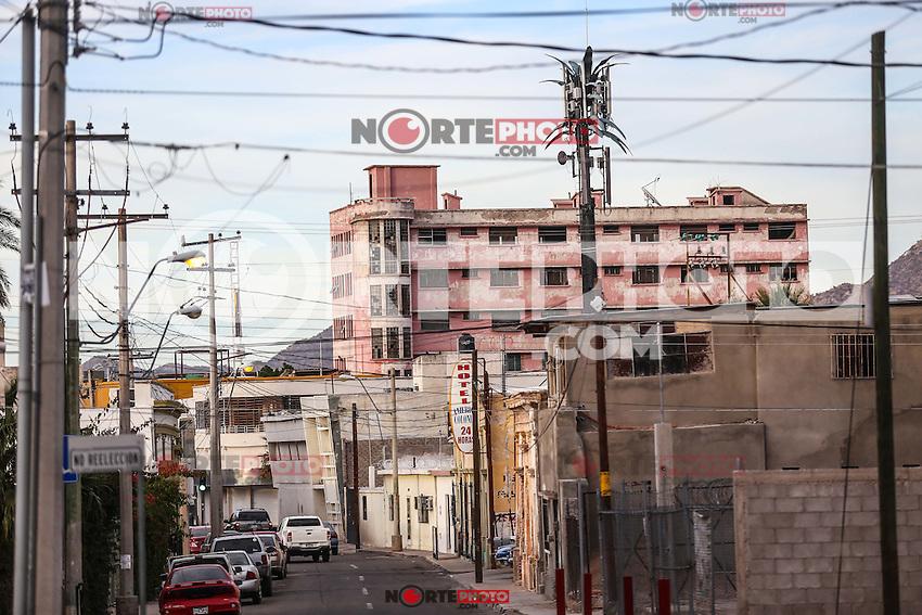 antiguo Edificio rosa de la calle Benito Juarez en el centro de Hermosillo