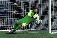FOXBOROUGH, MA - MARCH 7: Kecceth Kronholm #18 of Chicago Fire save during a game between Chicago Fire and New England Revolution at Gillette Stadium on March 7, 2020 in Foxborough, Massachusetts.