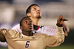 14 November 2008: Boston College's Edvin Worley (6) and Maryland's Omar Gonzalez (behind). The University of Maryland defeated Boston College 1-0 at WakeMed Stadium at WakeMed Soccer Park in Cary, NC in a men's ACC tournament semifinal game.