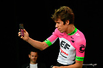 Rigoberto Uran (COL) EF-Drapac-Cannondale on stage at the Team Presentations for the 105th Tour de France 2018 held on Napoleon Square in La Roche-sur-Yon, France. 5th July 2018. <br /> Picture: ASO/Bruno Bade | Cyclefile<br /> All photos usage must carry mandatory copyright credit (&copy; Cyclefile | ASO/Bruno Bade)