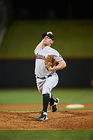 Birmingham Barons relief pitcher Brad Goldberg (8) delivers a pitch during a game against the Pensacola Blue Wahoos on May 8, 2018 at Regions FIeld in Birmingham, Alabama.  Birmingham defeated Pensacola 5-2.  (Mike Janes/Four Seam Images)