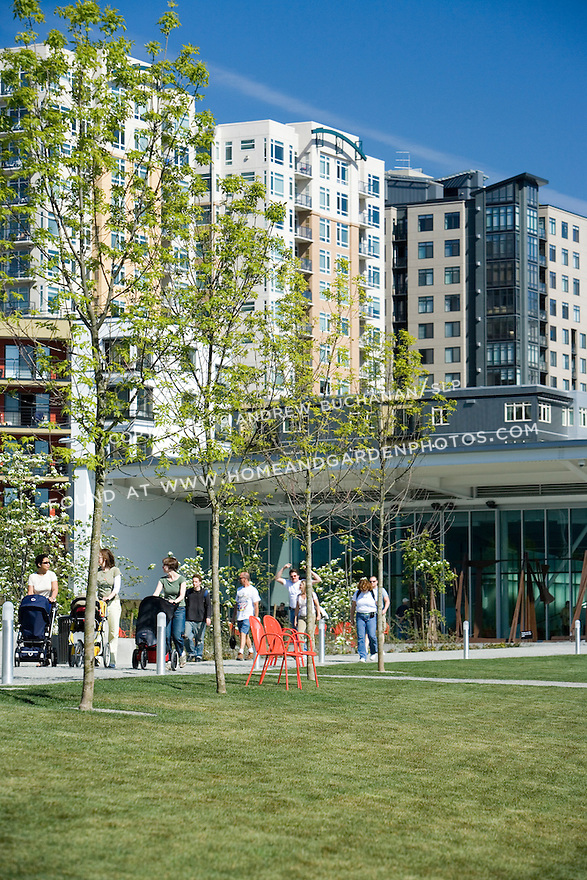 Seattle's Belltown neighborhood, just north of downtown, has seen an enormous building surge in high-rise condos (seen here in the background) during the past 4-8 years.  The waterfront site of the Olympic Sculpture Park was owned by a developer and was slated for high-rise, waterfront condos as well, until the City, the Seattle Art Museum (SAM), and the developer worked out a complex deal to remake the site as a place for ourtdoor art.  SAM's Olympic Sculpture Park, Seattle, WA.