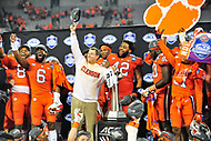 Charlotte, NC - DEC 2, 2017: Clemson Tigers head coach Dabo Swinney celebrates with his team after winning the ACC Championship game over Miami 38-3 at Bank of America Stadium Charlotte, North Carolina. (Photo by Phil Peters/Media Images International)