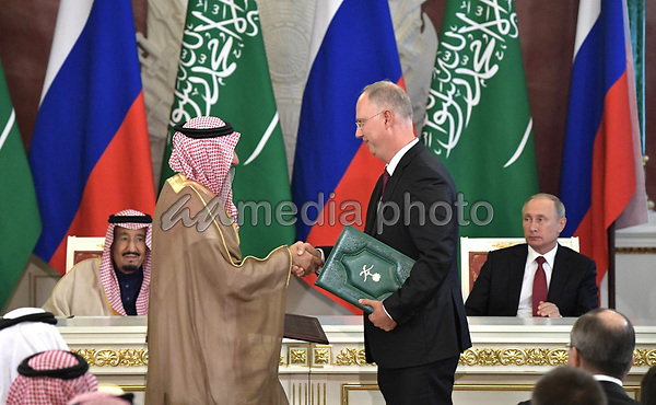 5 October 2017. - Moscow, Russia - Russian President Vladimir Putin at the ceremony of signing documents following Russian-Saudi talks. Photo Credit: Russianlook/face to face/AdMedia