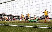 Northampton Town players celebrate the winning goal during the Sky Bet League 2 match between Stevenage and Northampton Town at the Lamex Stadium, Stevenage, England on 19 March 2016. Photo by David Horn / PRiME Media Images.
