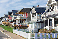 Charming cottage houses along Ocean Park, Oak Bluffs, Martha's Vineyard, USA