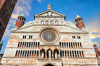 Romanesque facade of the Romanesque Cathedral of Cremona, begun 1107, with later Gothic, Renaissance & Baroque elements, Cremona, Lombardy, northern Italy
