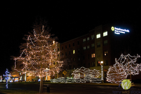 Holiday lights, Divine Providence Hospital.