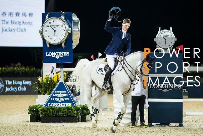 Daniel Deusser of Germany riding Cornet D'Amour celebrates winning the Hong Kong Jockey Club Trophy during the Longines Masters of Hong Kong at the Asia World Expo on 09 February 2018, in Hong Kong, Hong Kong. Photo by Ian Walton / Power Sport Images