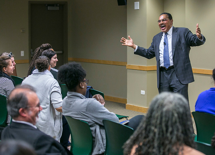 Dr. Freeman Hrabowski, gets a laugh from the crowd as he speaks Tuesday, April 18, 2017, at DePaul University as part of the President's Speakers Series on Race and Free Speech. Hrabowski is president of the University of Maryland - Baltimore County, and chair of the President's Advisory Commission on Educational Excellence for African Americans. His research and publications focus on science and math education, with special emphasis on minority participation and performance. (DePaul University/Jamie Moncrief)