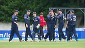 ICC World T20 Qualifier - GROUP B MATCH - SCOTLAND V UAE at Grange CC, Edinburgh - Scotland celebrate a wicket — credit @ICC/Donald MacLeod - 09.07.15 - 07702 319 738 -clanmacleod@btinternet.com - www.donald-macleod.com