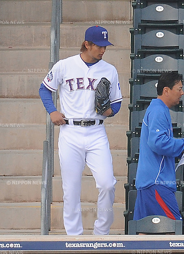 Yu Darvish (Rangers),.FEBRUARY 28, 2012 - MLB : Pitcher Yu Darvish (L) of the Texas Rangers is seen during photo day session at baseball spring training camp in Surprise, Arizona, United States..(Photo by AFLO)