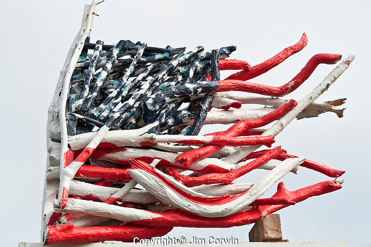 Driftwood American Flag along Highway 101 at Grayland Washington State USA