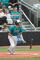 University of Coastal Carolina Chanticleers catcher Matt Beaird (16) at bat during a game against the University of Virginia Cavaliers at Springs Brooks Stadium on February 21, 2016 in Conway, South Carolina. Coastal Carolina defeated Virginia 5-4. (Robert Gurganus/Four Seam Images)