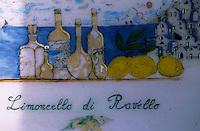 Europe/Italie/Côte Amalfitaine/Campagnie/Ravello : Enseigne d'une boutique vendant du limoncello