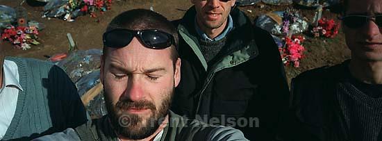 Trent Nelson, Brent Israelsen, Skender Topilla, at KLA graveyard.<br />
