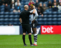 Referee Andy Davies shows Preston North End's Darnell Fisher a yellow card<br /> <br /> Photographer Alex Dodd/CameraSport<br /> <br /> The EFL Sky Bet Championship - Preston North End v Bristol City - Saturday 28th September 2019 - Deepdale Stadium - Preston<br /> <br /> World Copyright © 2019 CameraSport. All rights reserved. 43 Linden Ave. Countesthorpe. Leicester. England. LE8 5PG - Tel: +44 (0) 116 277 4147 - admin@camerasport.com - www.camerasport.com