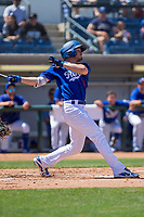 Rancho Cucamonga Quakes Gavin Lux (14) follows through on his swing against the Lake Elsinore Storm at LoanMart Field on April 22, 2018 in Rancho Cucamonga, California. The Storm defeated the Quakes 8-6.  (Donn Parris/Four Seam Images)
