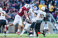 STANFORD, CA - SEPTEMBER 22, 2013: Ben Gardner blocks a punt and recovers the ball during Stanford's game against Arizona State. The Cardinal defeated the Sun Devils 42-28.