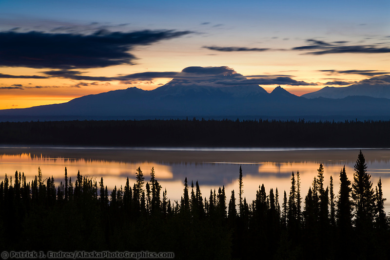 Mt. Drum, located on the western edge of Wrangell St. Elias National Park, (12,010 ft.) Willow lake in the foreground.