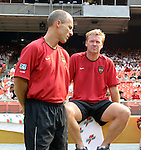 3 July 2004: MetroStars head coach Bob Bradley (left) with assistant Mo Johnston (right) before the game. DC United defeated the MetroStars 6-2 at RFK Stadium in Washington, DC during a regular season Major League Soccer game..