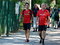 20170717 - RIJEN , NETHERLANDS :  Belgian physical trainer Cedric Lehance (left) pictured with teammanager Rudy Vanderelst (r) during a training session of the Belgian national women's soccer team Red Flames on the pitch of Rijen , on Tuesday 18 July 2017 in Rijen . The Red Flames are at the Women's European Championship 2017 in the Netherlands. PHOTO SPORTPIX.BE | DAVID CATRY