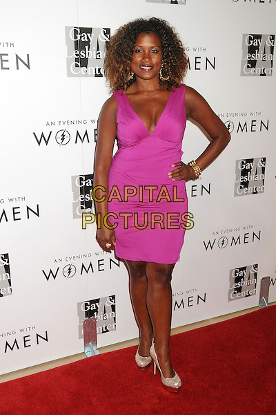 "Janora McDuffie.LA Gay & Lesbian Center's ""An Evening With Women"" 2013 held at the Beverly Hilton Hotel, Beverly Hills, California, USA, 18th May 2013..full length dress  pink hand on hip .CAP/ADM/BP.©Byron Purvis/AdMedia/Capital Pictures"